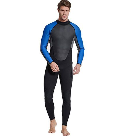 aa63a7e78a Amazon.com   Cahayi Mens Full Wetsuit Neoprene 3mm Long Sleeve Diving  Surfing Suit Plus Size   Sports   Outdoors