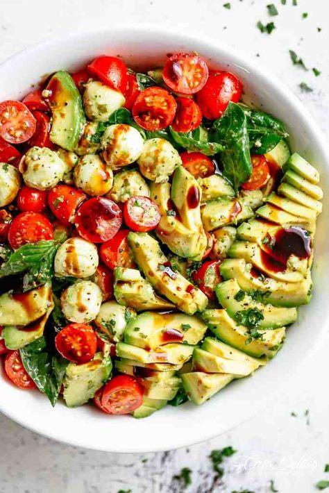 Avocado caprese salad.