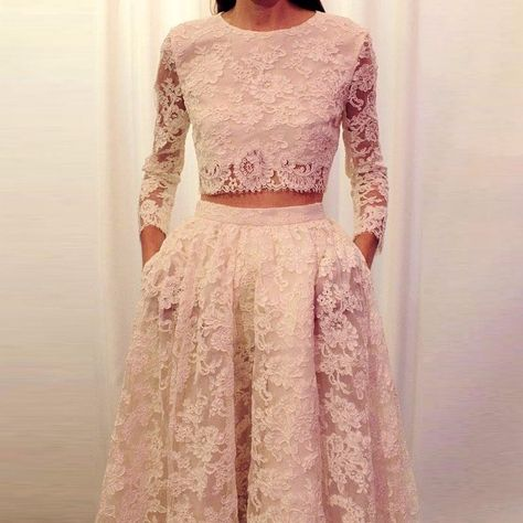 2 Piece Prom Dresses Long Sleeve Lace White Prom Gowns vestidos de noche · saaass · Online Store Powered by Storenvy