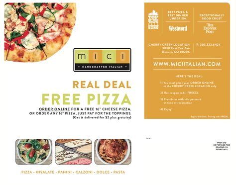 Mici Italian Pizza Direct Mail Coupon Design By Watermark