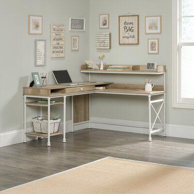 Oakside L-Shape Executive Desk with Hutch – Home office design layout Home Office Space, Home Office Design, Home Office Decor, Home Design, Web Design, Home Decor, Office Designs, Corner Office Desk, Ikea Corner Desk