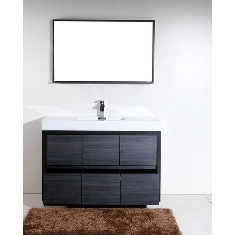 Kubebath Bliss 59 Inch Single Sink Bathroom Vanity Gray Oak Matte