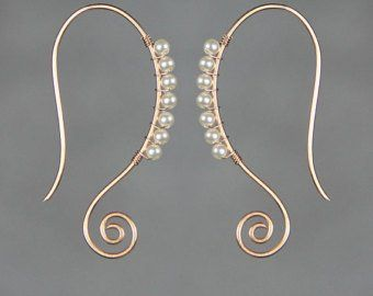 14k gold filled wiring scroll abstract earrings handmade