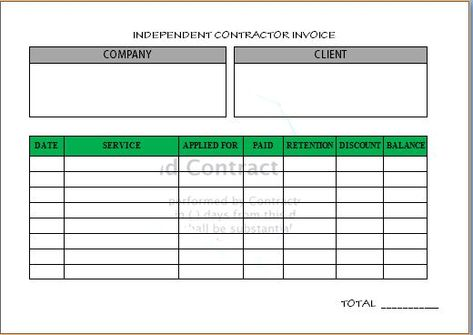 Independent Contractor Invoice Sample  Independent Contractor