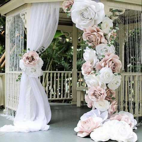 amazing backdrop using her Ann Neville Design rose template.Clever combination of drape and large oversized paper flowers make this dramatic site for Wedding Ceremony.Top 6 Wedding Decor Trends For 2018 Brides ❤︎ Wedding planning ideas & inspirat Giant Paper Flowers, Large Flowers, Diy Flowers, Paper Flower Wall, Flowers Garden, Large Artificial Flowers, Faux Flowers, Deco Floral, Pink Paper