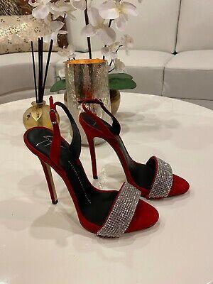 Giuseppe Zanotti Sophie Crystal Red Slingback Heels Sandals Size 37 7 Nwt In 2020 Heels Giuseppe Zanotti Heels Sandals Heels