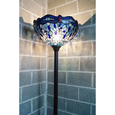 Traditional Blue Dragonfly Tiffany Torchiere Floor Lamp Glass Lamp Base Torchiere Floor Lamp Tiffany Style Lamp Tiffany torchiere floor lamp