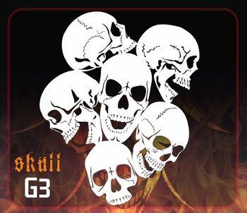 AEROSPACE Airbrush Stencil G3 'Multi-Angle Skulls' - Mid Size