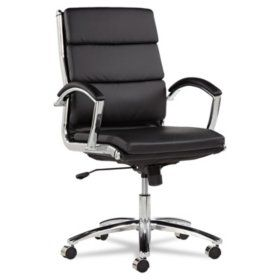Alera Neratoli Mid Back Leather Swivel Tilt Chair Select Color