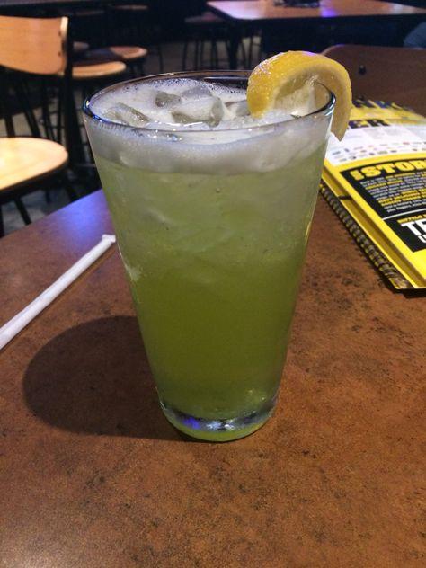 Sour Irishman - Buffalo Wild Wings 1.5 oz Jameson Irish Whiskey, .5 oz Midori, 2 oz lime sour, top with 2.5 oz Sierra Mist