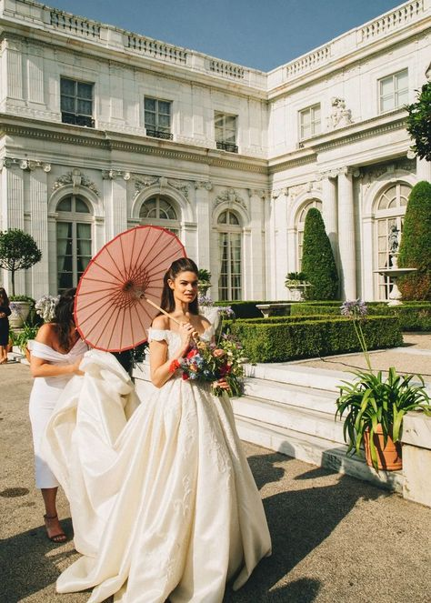 The Bride Wore All Vintage to Her Wedding at a Gilded Age Mansion in Newport Wedding Goals, Wedding Pics, Dream Wedding, Wedding Day, Wedding Dresses, Lesbian Wedding, Wedding Menu, Newport, Vogue Bride