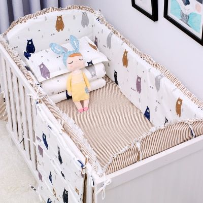 New 6 Pcs Sets Cartoon Breathable Crib Liner Cotton Crib Bumper Baby Cot Sets Baby Bed Protector Baby Bedding Bumper Www Kiddiecraze Com Baby Cot Sets Baby Bed Baby Bumper