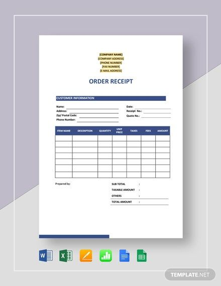 Order Receipt Template Word Doc Excel Google Docs Apple Mac Pages Google Sheets Apple Numbers In 2020 Receipt Template Templates Order Form Template