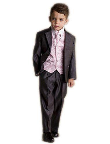 MLT Boys 3-pieces Vertical Stripe Slim Wedding Suit Set
