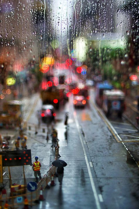 i like this photo because of the half rain and half scene concept and it looks like a mini new york city for ants.