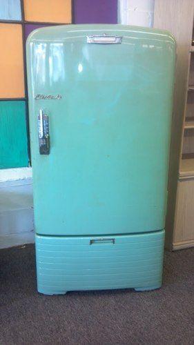 Vintage Teal Green Refrigerator Antique