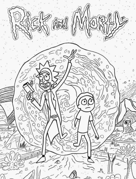 Rick And Morty Coloring Page Rick And Morty Drawing Rick And Morty Tattoo Coloring Books