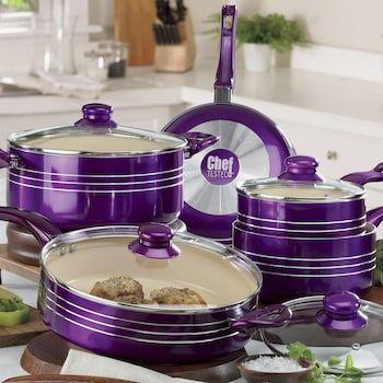 Chef Tested 9 Piece Metallic Cookware Set By Montgomery Ward Purple Kitchen Purple Kitchen Accessories Purple Kitchen Decor