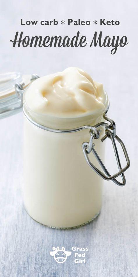 Low Carb Paleo Keto Homemade Mayo   http://www.grassfedgirl.com/ketogenic-diet-mayonaise-recipe/ #keto #paleo #lowcarb