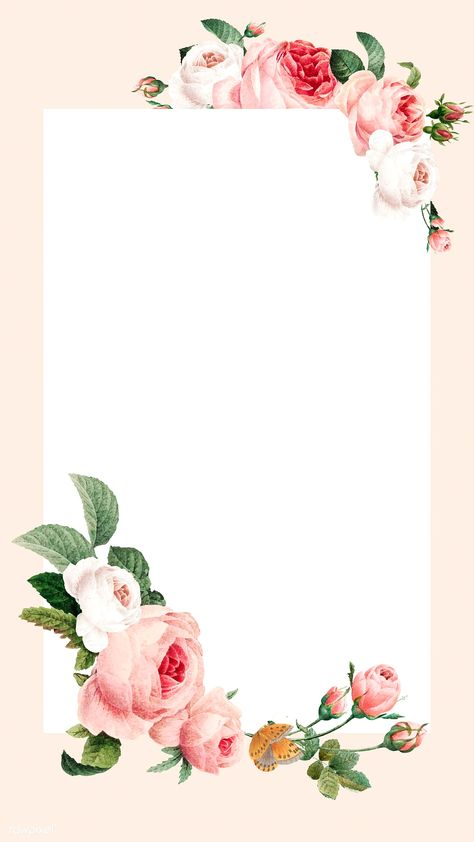 Blank floral rectangle frame vector mobile phone wallpaper | premium image by rawpixel.com