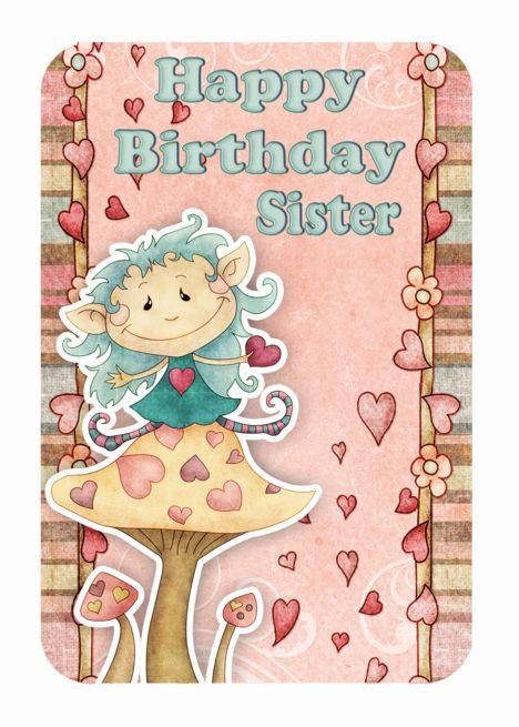 Sister Birthday Card With Cute Little Elf On Mushroom Card