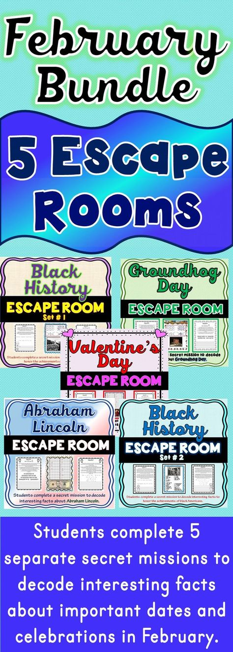 The 5 pack Bundle of Escape Rooms will take students on 5 separate secret missions around the classroom! The escape rooms have students decode interesting facts that honor the achievements of Black Americans and Abraham Lincoln. Also included are escape rooms that include fun facts about Groundhog Day and Valentine's Day. There are two Black History Escape rooms included!  #valentinesday  #blackhistory  #groundhogday  #president