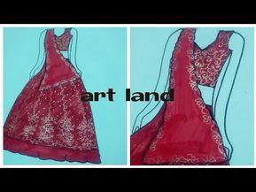 تعليم رسم اللباس الهندي رسم الزي الهندي رسم اللباس الهندي للعروسة How To Draw Indian Wedding Dress Youtube Art Dress Indian Wedding Dress Fashion