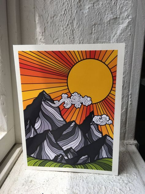 Psychedelic Sunrise Mountain Blank Greeting Card - Handmade Aesthetic Nature Notecard - Mountain Stationery Gift Card Set or Single Card - Notecards Diy Cute Canvas Paintings, Small Canvas Art, Mini Canvas Art, Art Paintings, Psychedelic Drawings, Trippy Drawings, Cool Art Drawings, Art Sketches, Drawing Ideas