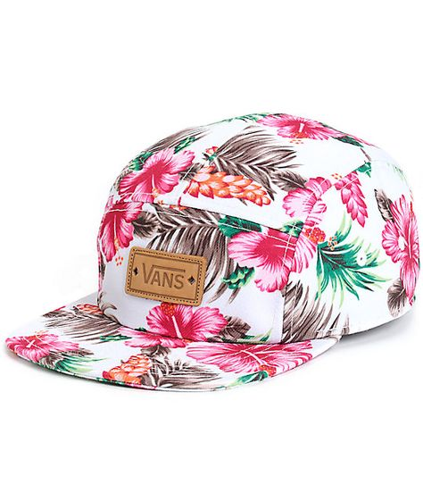 8ea7f3d71425d Add some Aloha to your look with this tropical floral print camper hat that  features a leather Vans logo patch embroidered at the front and an  adjustable ...