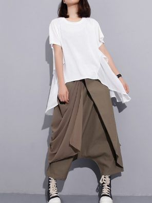 Woman Casual Pant Solid Color elastic Waist Bandage Fold Foot trousers S-2XL