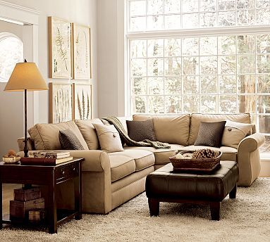 My sectional and leather ottoman. Pearce 3-Piece Sectional with Wedge - Performance everydaysuedeu0026#8482 #potterybarn | h o m e. : pottery barn sectional sofa - Sectionals, Sofas & Couches