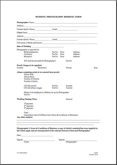 Printable Sample Wedding Photography Contract Template Form Laywers Forms Online Pinterest And