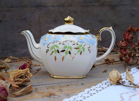 Vintage Sadler England Hand Decorated Flowers and Gold Trims Design Cube Shape China Teapot Collectible Sadler Made in England Pretty Teapot
