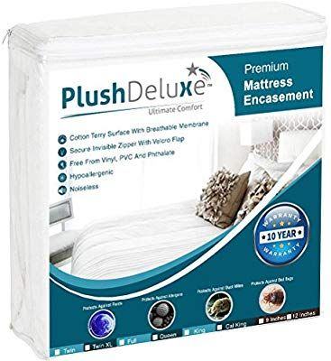 Plushdeluxe Premium Zippered Mattress Encasement Waterproof Bed Bug Dust Mite Proof 6 Sided Protector Cove Mattress Encasement Waterproof Mattress Bed Bugs