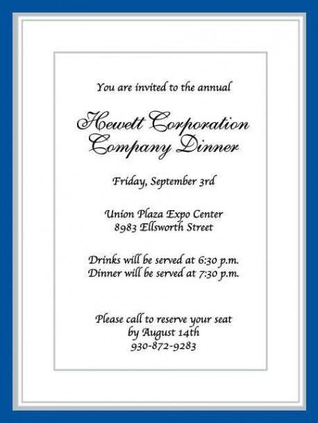 Business Dinner Invitation Wording Samples
