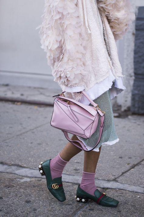 Feathered jacket with Gucci Loafers