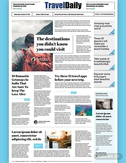 Free Travel Newspaper Template Word Doc Psd Apple Mac Pages Publisher Newspaper Template Free Travel Newspaper Template Word