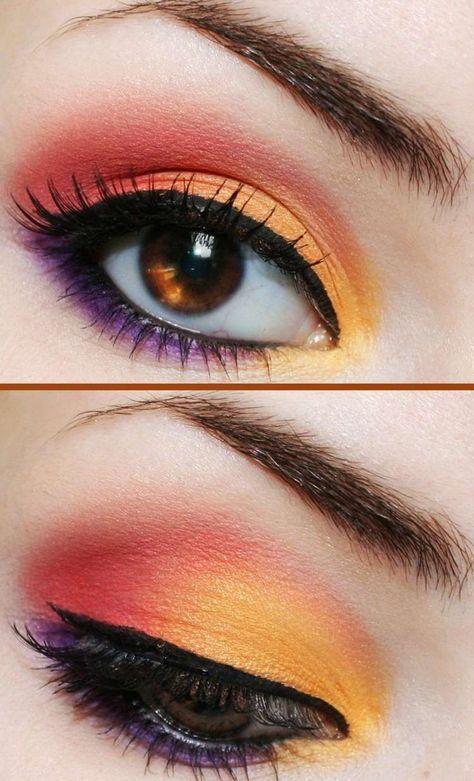 maquillage des yeux en orange, rouge et lilas, trait d'eye-liner fin et mascara