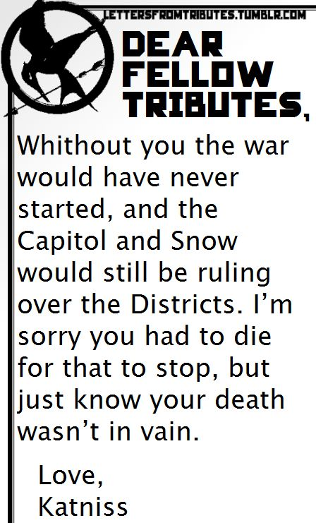 Letters From Tributes Photo  Hunger Games    Hunger