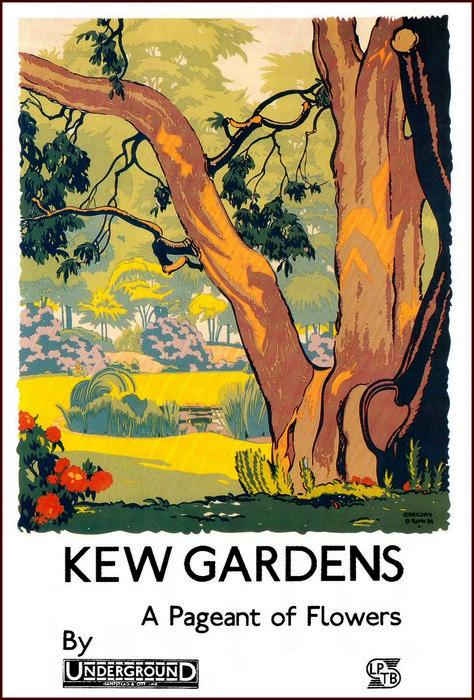 Vintage Kew Gardens Aster Time Tourism Poster A3//A4 Print