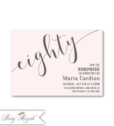 Surprise 80th Birthday Invitations Adult Party Invites Blush Pink And Gray Womens For Her 80 Years Old