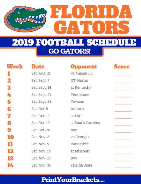Printable Florida Gators Football Schedule Florida Gators