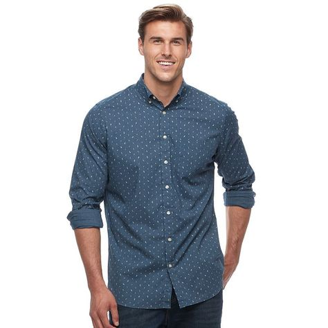 "7be090a7c950d4 Big & Tall SONOMA Goods for Lifeâ""¢ Slim-Fit Checked Stretch Poplin Button-Down  Shirt, Men's, Size: Xl Tall, Dark Blue"