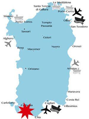 Lage Karte Sardinien Sudwesten Mit Bildern Sardinien Cagliari