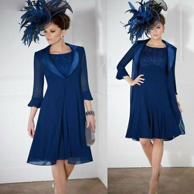 Royal Blue Mother Of The Bride Dresses Outfit Jacket Knee Length