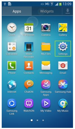 GS4 Apps Menu - Settings Icon Framed | Samsung galaxy s4