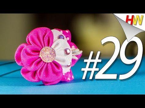 Канзаши цветы из атласных лент мастер класс для начинающих #13