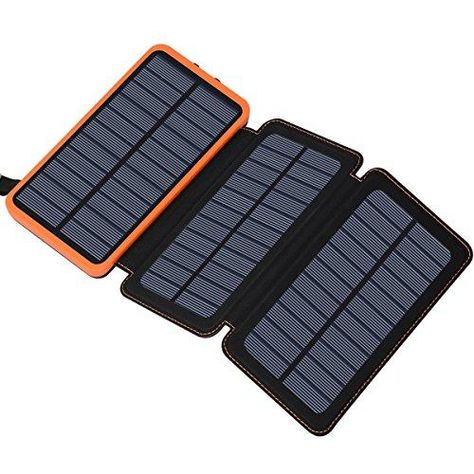 Solar Charger 24000mAh, FEELLE Solar Power Bank with 2 USB Ports Waterproof Portable External Battery Compatible with Smartphones, Tablets and More - Orange