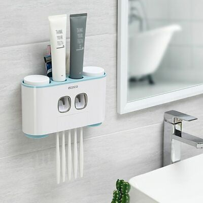 Details About Ecoco Wall Mount Toothbrush Holder Auto Squeezing Toothpaste Dispenser In 2020 Toothpaste Dispenser Wall Mounted Toothbrush Holder Brushing Teeth