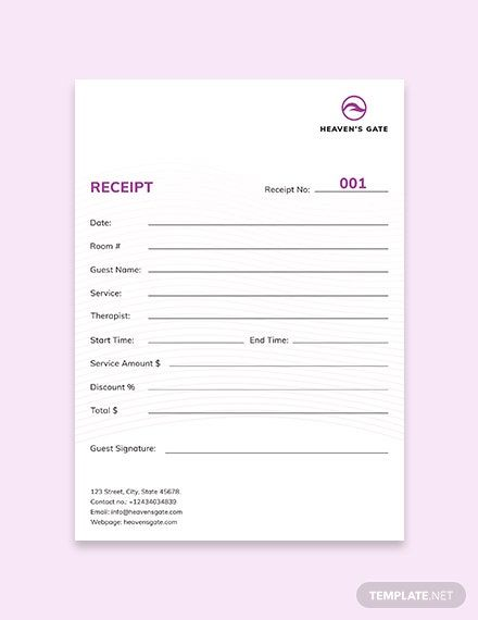 Instantly Download Massage Receipt Template Sample Example In Microsoft Word Doc Microsoft Excel Xls Receipt Template Templates Bill Of Sale Template